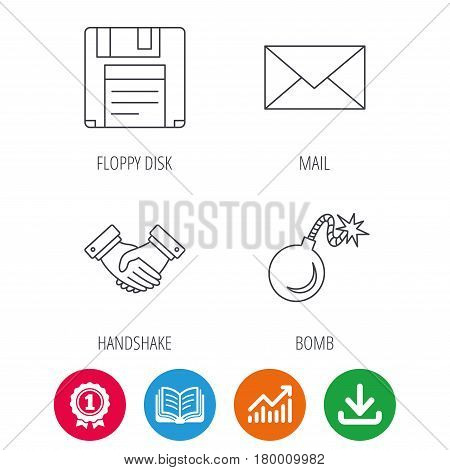 Mail, bomb and handshake icons. Floppy disk linear sign. Award medal, growth chart and opened book web icons. Download arrow. Vector