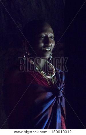 Maasai Chief Wife In Hut