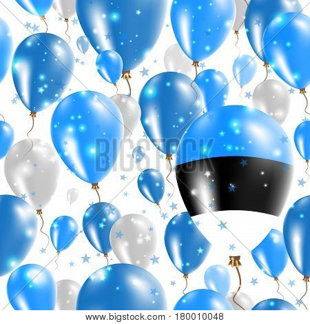 Estonia Independence Day Seamless Pattern. Flying Rubber Balloons In Colors Of The Estonian Flag. Ha