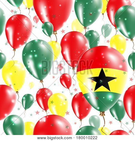 Ghana Independence Day Seamless Pattern. Flying Rubber Balloons In Colors Of The Ghanaian Flag. Happ