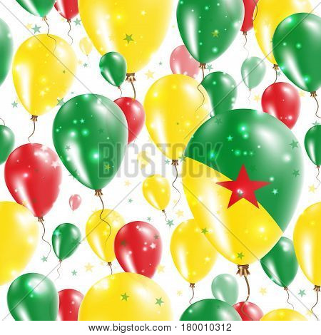 Guiana Independence Day Seamless Pattern. Flying Rubber Balloons In Colors Of The Guiana Flag. Happy