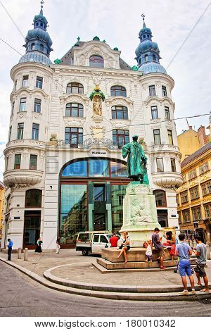 Johannes Gutenberg Statue In City Center Of Vienna