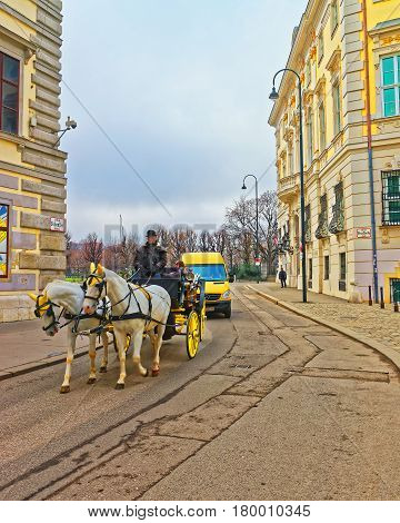 Horse Fiacre In Old City Of Vienna