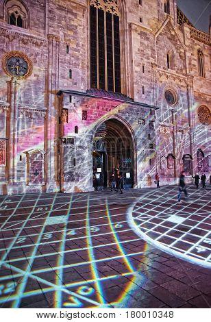 Laser Show At St Stephen Cathedral On Stephansplatz Vienna