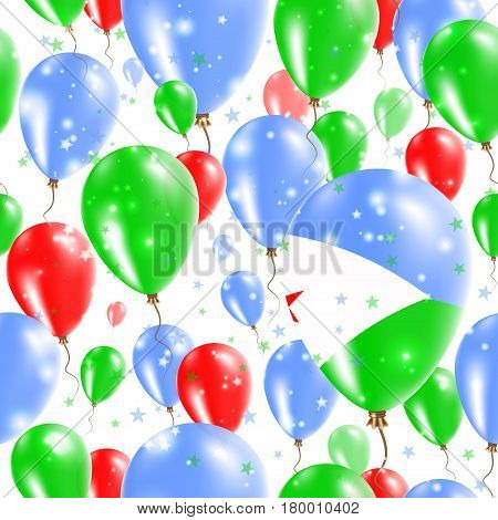 Djibouti Independence Day Seamless Pattern. Flying Rubber Balloons In Colors Of The Djibouti Flag. H