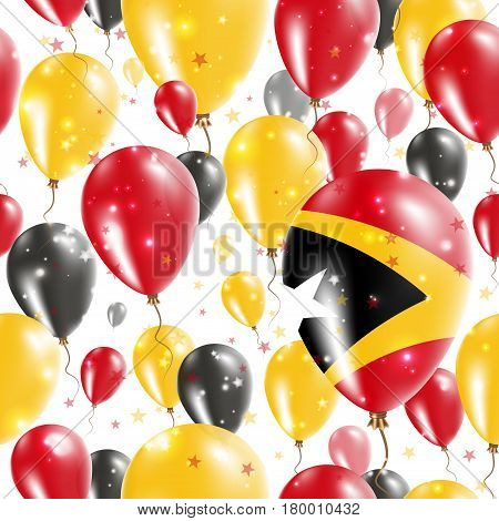 Timor-leste Independence Day Seamless Pattern. Flying Rubber Balloons In Colors Of The East Timorese