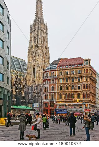People At St Stephen Cathedral On Stephansplatz In Vienna