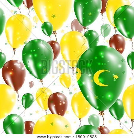 Cocos Islands Independence Day Seamless Pattern. Flying Rubber Balloons In Colors Of The Cocos Islan