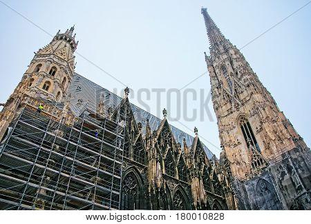 Renovation Of St Stephen Cathedral At Stephansplatz In Vienna