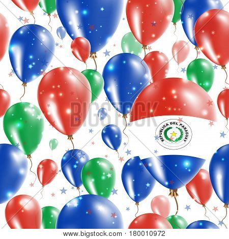 Paraguay Independence Day Seamless Pattern. Flying Rubber Balloons In Colors Of The Paraguayan Flag.