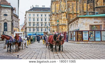 Team Of Horses And Their Coach On Stephansplatz In Vienna