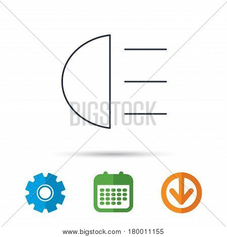 High beams icon. Distant light car sign. Calendar, cogwheel and download arrow signs. Colored flat web icons. Vector