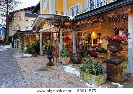 Restaurant Terrace Decorated With Plants For Christmas At Garmisch Partenkirchen