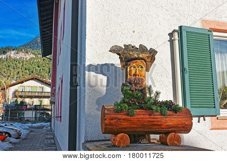 Wooden Figure Decorated For Christmas Garmisch Partenkirchen