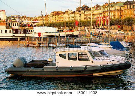Boats On Geneva Lake Near Promenade Du Lac