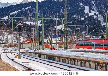 High Speed Train In Garmisch Partenkirchen In Germany