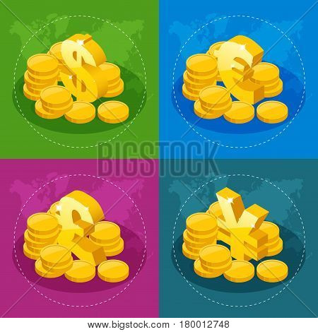 Isometric set of US Dollar, Euro, Great Britain Pound, Japanese Yen for app icon or website.