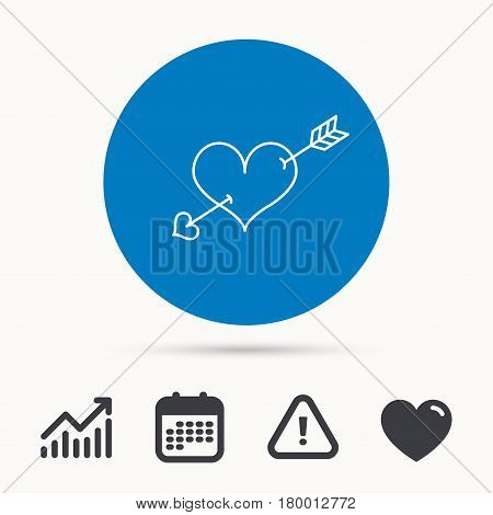 Love heart icon. Amour arrow sign. Calendar, attention sign and growth chart. Button with web icon. Vector