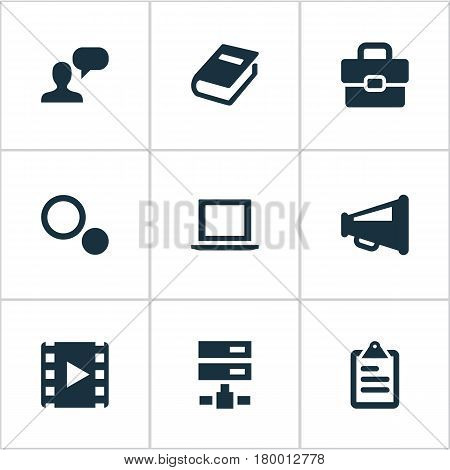 Vector Illustration Set Of Simple Icons Icons. Elements Assessment, Book Print, Bullhorn And Other Synonyms Work, Film And Schema.