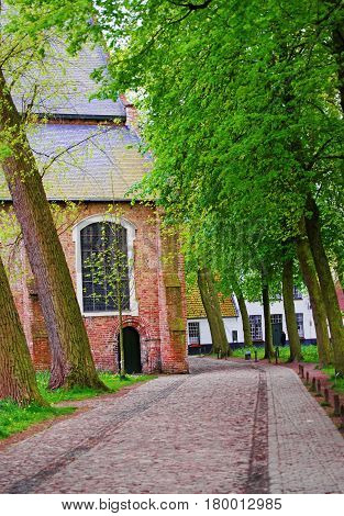 Benedictine Beguinage in the Medieval old city of Bruges Belgium.