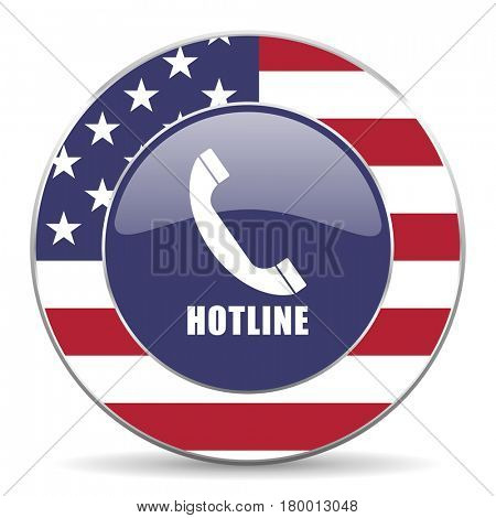Hotline usa design web american round internet icon with shadow on white background.