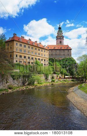 Cesky Krumlov State Castle With Bend Vltava River