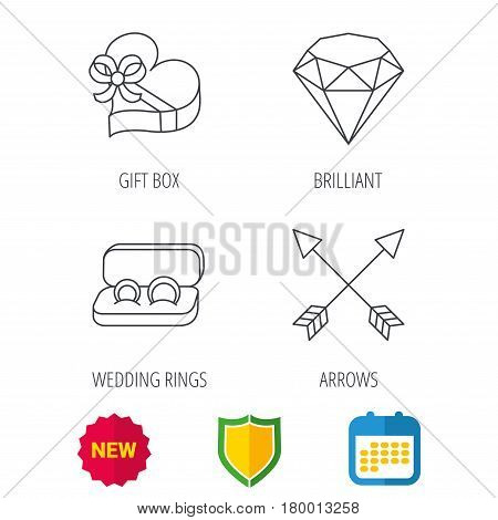Brilliant, gift box and wedding rings icons. Arrows linear signs. Shield protection, calendar and new tag web icons. Vector