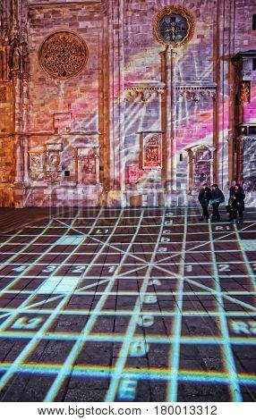 Laser Show At St Stephen Cathedral On Stephansplatz In Vienna