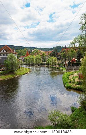Old Town And Vltava River In Cesky Krumlov