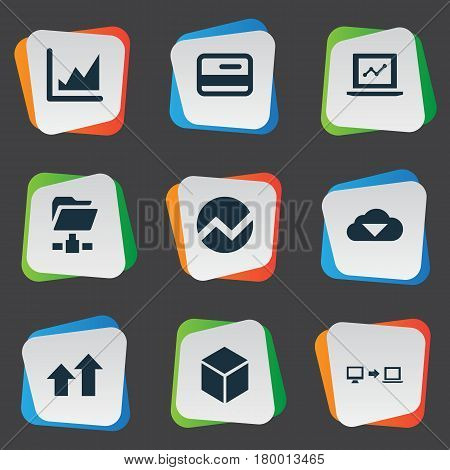 Vector Illustration Set Of Simple Data Icons. Elements Economy, Storage, Increase And Other Synonyms Hexagon, Analytics And Increase.
