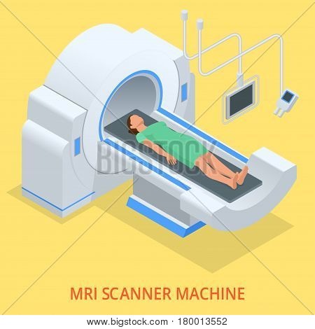 Magnetic resonance imaging MRI of the body. Flat isometric illustration. Medicine diagnostic concept.