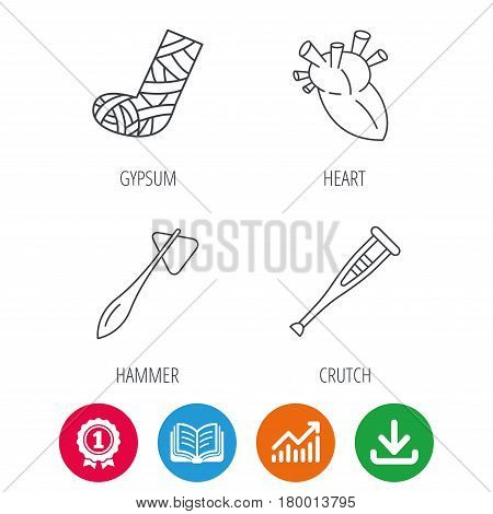 Gypsum, heart and medical hammer icons. Crutch linear sign. Award medal, growth chart and opened book web icons. Download arrow. Vector