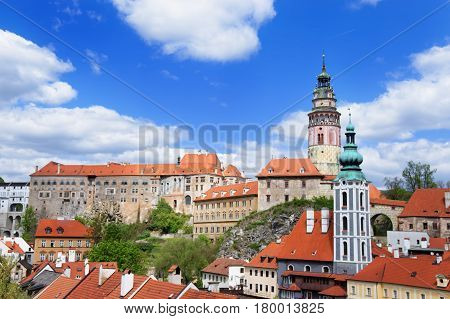 Roof View On State Castle In Cesky Krumlov Czech Republic