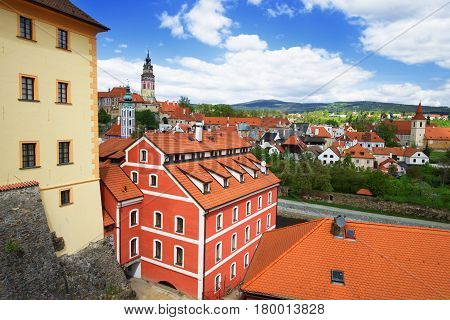 Roof View To State Castle In Cesky Krumlov Czech Republic