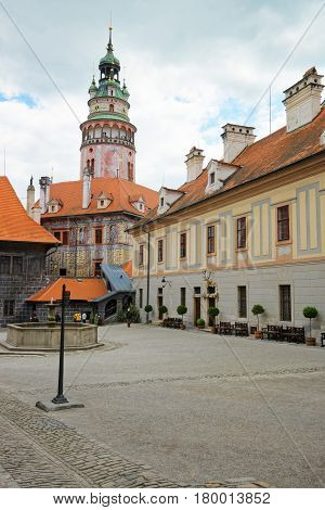 Round Tower And Inner Yard Of State Castle Cesky Krumlov