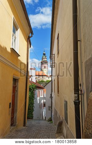 Round Tower Of State Castle Of Cesky Krumlov Czech Republic