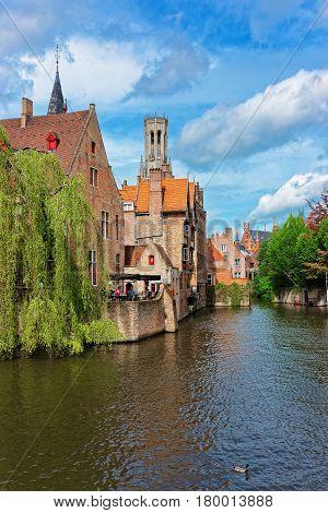 Rozenhoedkaai Canal In Old Town Of Brugge