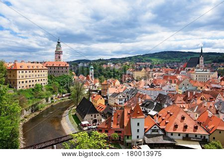 State Castle And Bend Of Vltava River In Cesky Krumlov