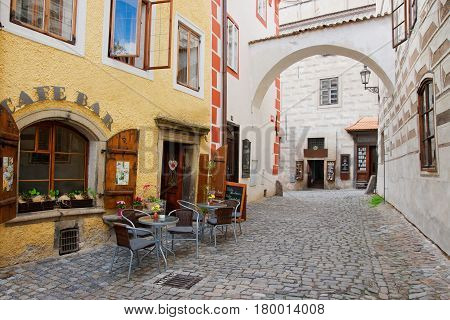 Street Cafe Bar In Old City Of Cesky Krumlov