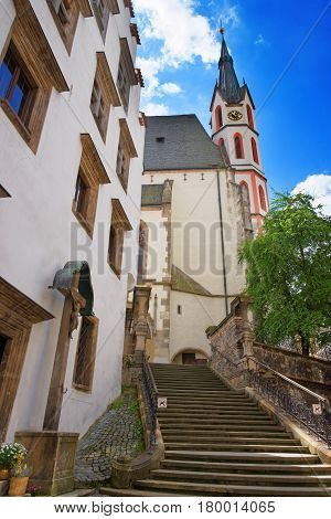 Street With Stairs And St Vitus Church Cesky Krumlov