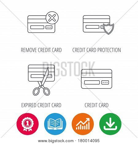 Bank credit card icons. Banking, protection and expired debit card linear signs. Award medal, growth chart and opened book web icons. Download arrow. Vector