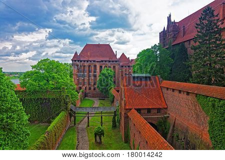 Architecture of Malbork Castle also called as Marienburg Teutonic Order of Poland.