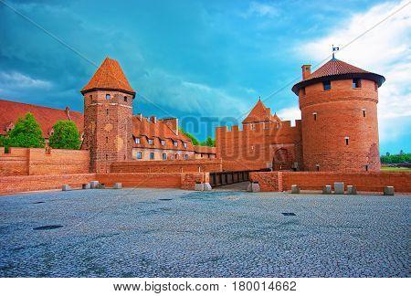 Malbork, Poland - May 8, 2014: One of the Entrances into Malbork Castle also called as Marienburg Teutonic Order at Pomerania Poland.