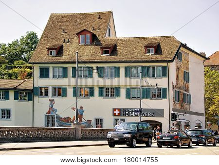 Historical Building With Painting And Rudolf Brun Brucke Bridge Zurich