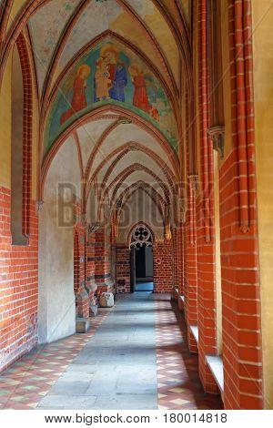 Malbork, Poland - May 8, 2014: Interior of Malbork Castle also called as Marienburg Teutonic Order Pomerania in Poland.