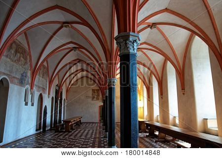 Malbork, Poland - May 8, 2014: Interior of Malbork Castle also called as Marienburg Teutonic Order at Pomerania Poland.