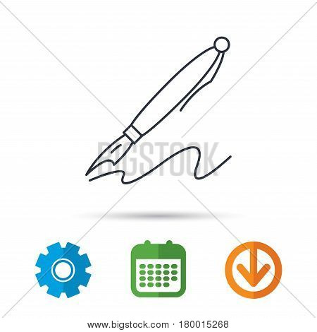 Pen icon. Writing tool sign. Calendar, cogwheel and download arrow signs. Colored flat web icons. Vector