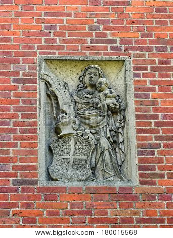 Sculpture In Wall In Entrance Gate Into Malbork Castle