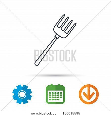 Pitchfork icon. Agriculture sign symbol. Calendar, cogwheel and download arrow signs. Colored flat web icons. Vector