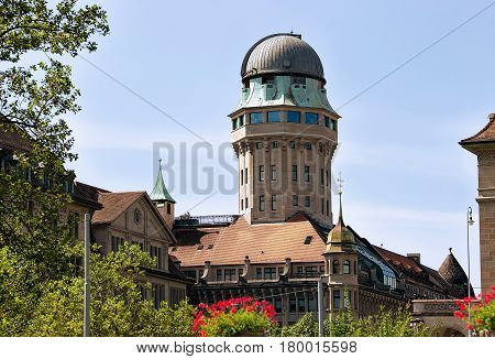 Telescope dome in city Zurich of Switzerland.